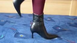 Jana shows her spike high heel booties black with silver