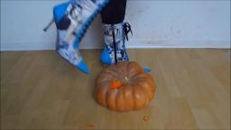 Jana crushes a pumpkin with her Stiletto London ankle boots trailer