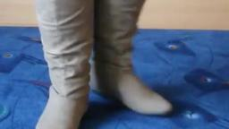 Jana shows her winter boots Jumex khaki knee high