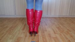 Jana shows her stiletto boots red 11