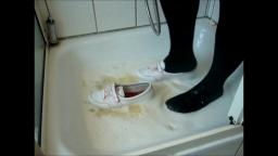 Jana fill messy her shiny white Adidas Concord Round ballerinas with pink stittches with eggs and wa
