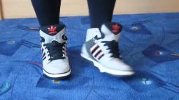 Jana shows her Adidas Hard Court Hi grey, black and red