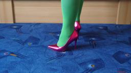 Jana shows her spike high heel Pumps Catwalk metallic pink
