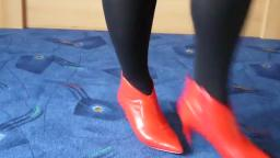 Jana shows her spike high heel ankle booties shiny red