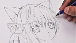 How to draw Anime  Neko  (Anime Drawing Tutorial for Beginners)