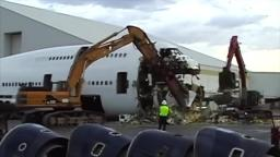 A video of a boeing 747 being scrapped but with the dead island trailer song to make it sadder