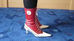 Jana shows her spike high heel booties red white with lacing