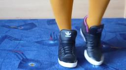 Jana shows her Adidas Top Ten Hi black metallic with inner heel