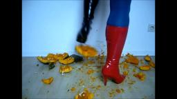 Jana crush a pumpkin with a mixed pair of red and black high heel patent leather boots trailer