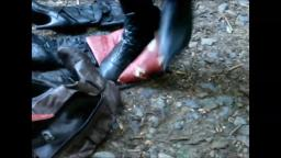 Jana tramples and destroys other boots with some of her stiletto ankle boots trailer