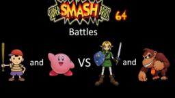 Super Smash Bros 64 Battles #26: Ness and Kirby vs Link and Donkey Kong