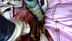 Jana trample on bed with her Adidas Superstar and messy both