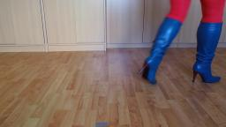 Jana shows her stiletto boots blue 11