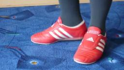 Jana shows her Adidas Martial Arts red, white