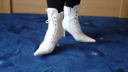 Jana shows her spike high heel booties white pink with lacing