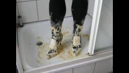 Jana crush cake with spike high heel booties black white Graceland in shower and messy them