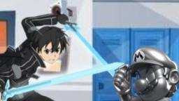 Kirito Beats Up Metal Mario