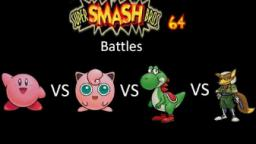 Super Smash Bros 64 Battles #37: Kirby vs Jigglypuff vs Yoshi vs Fox