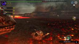 Lavasioths Stupidity.... which led to Rathalos falling into the lava