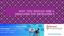 Why should you hire a dedicated PHP Developer