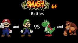 Super Smash Bros 64 Battles #38: Mario and Luigi vs Yoshi and Donkey Kong