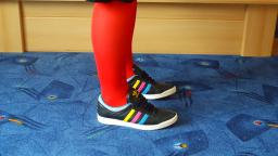 Jana shows her Adidas Top Ten low sleek series black with blue, pink and yellow stripes