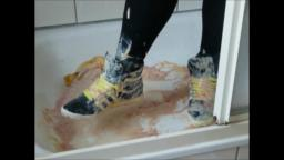 Jana messes up her Adidas Top Ten shiny black and white with egg banana and custard in the shower tr