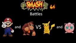 Super Smash Bros 64 Battles #2: Mario and Donkey Kong vs Pikachu and Jigglypuff